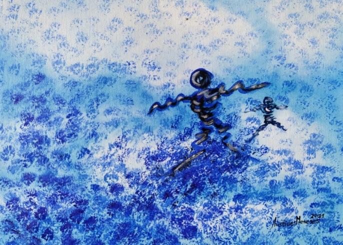 Duas crianças a correr em flores azuis